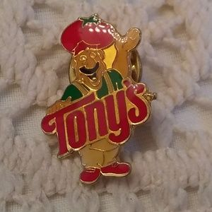 Tony's Pizza Lapel or Hat Pin Man in Tomato Hat